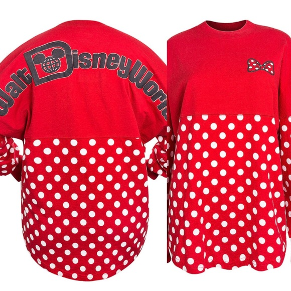 Disney Tops - Disney Minnie Mouse polkadot Red spirit jersey bdc6d5982